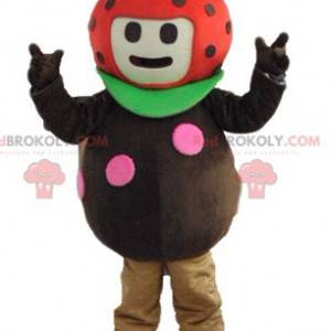 Marihøne jordbær maskot rød og grønn brun - Redbrokoly.com