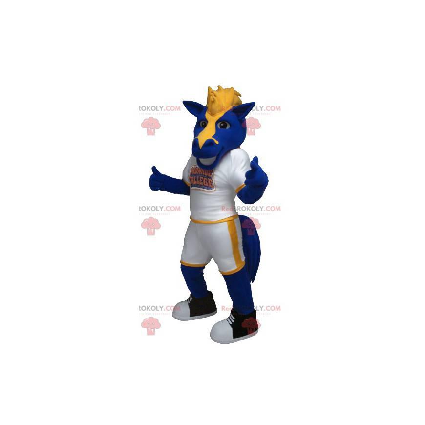 Niebiesko-żółta maskotka konia - Redbrokoly.com