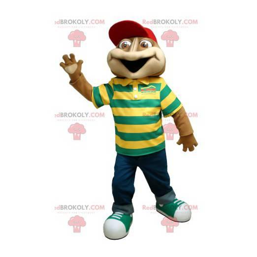 Brązowa maskotka żaby z pasiastą koszulką polo - Redbrokoly.com
