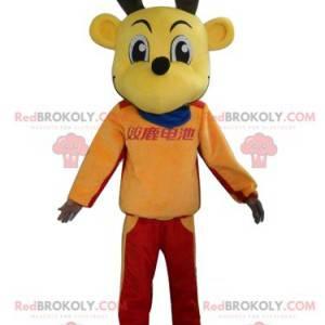 Maskot sobů žlutých losů v barevném oblečení - Redbrokoly.com
