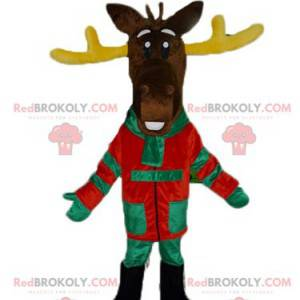 Brown reindeer mascot with yellow antlers in colorful outfit -