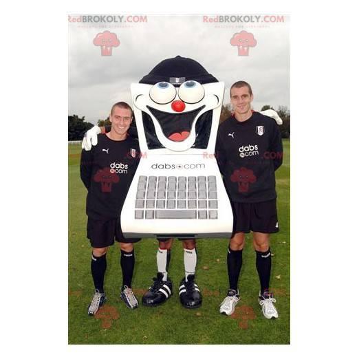 Černobílý počítačový maskot s klávesnicí - Redbrokoly.com