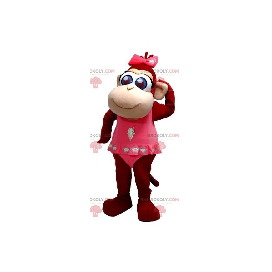Roztomilá hnědá opice maskot s modrýma očima - Redbrokoly.com