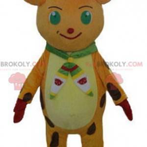 Oranžový a žlutý maskot vánočních sobů s čepicí - Redbrokoly.com
