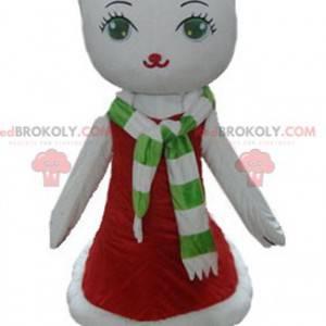 Biała maskotka kot w świątecznej sukience - Redbrokoly.com