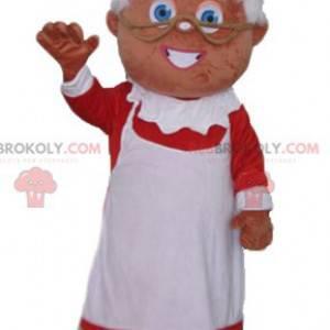 Maskottchen Frau Claus in einem rot-weißen Kleid gekleidet -