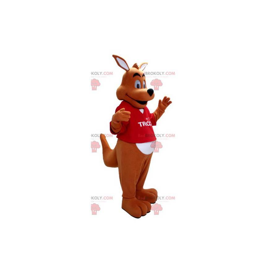 Orange und weißes Känguru-Maskottchen mit einem roten T-Shirt -