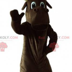 Large brown caribou mascot with large antlers - Redbrokoly.com