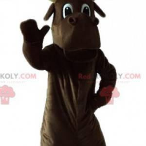 Stor brun karibou maskot med store gevirer - Redbrokoly.com