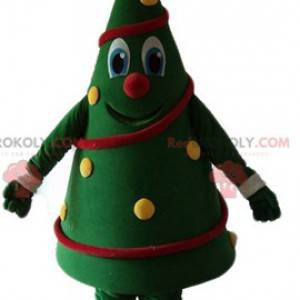 Maskot zdobený vánoční strom velmi usměvavý a barevný -