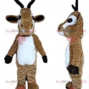 Bruin en wit rendiergeit mascotte - Redbrokoly.com