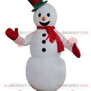 Maskottchen hübscher weißer Schneemann sehr lächelnd -
