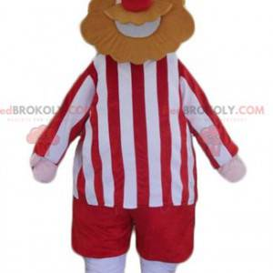 Viking skjegg mann maskot kledd i rødt og hvitt - Redbrokoly.com