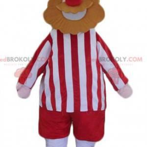 Wikinger bärtiger Mann Maskottchen in Rot und Weiß gekleidet -