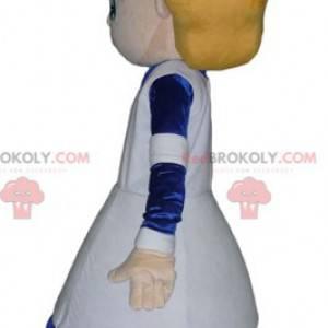 Maskot blond sestra dívka v bílých a modrých šatech -