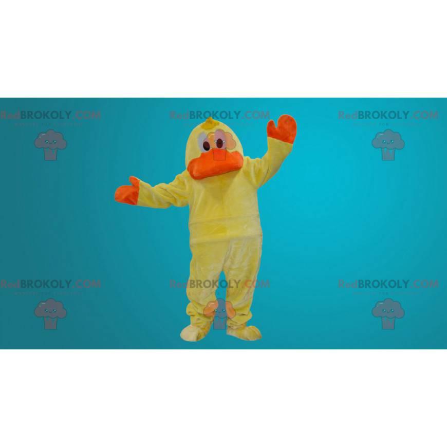 Żółta i pomarańczowa maskotka kaczka - Redbrokoly.com