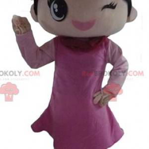 Coquette girl mascot dressed in a pink dress - Redbrokoly.com