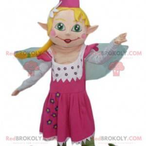 Bonita mascota de hadas en vestido rosa con cabello rubio -