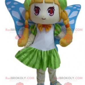 Søt jente maskot med sommerfuglvinger - Redbrokoly.com