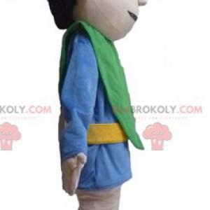 Cavaleiro mascote em traje azul e verde - Redbrokoly.com
