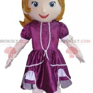 Prinsesse maskot med en lilla kjole - Redbrokoly.com