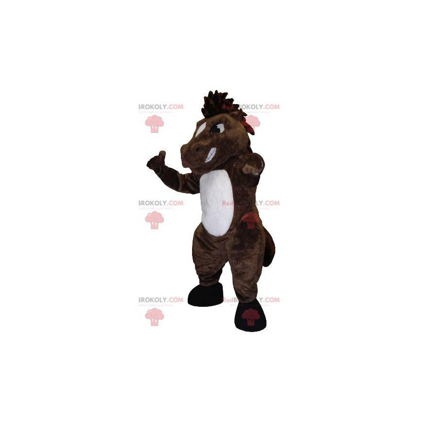 Brun og hvit hestemaskot ser stygg ut - Redbrokoly.com
