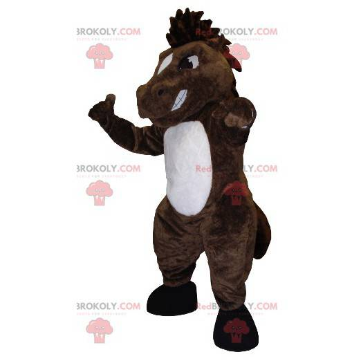 Brown and white horse mascot looking nasty - Redbrokoly.com