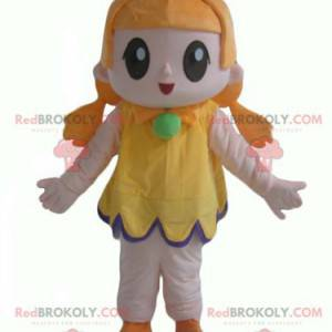 Red-haired girl mascot with a very smiling yellow dress -