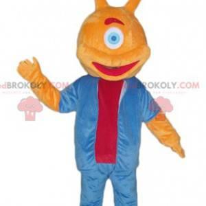 Orange alien mascot with one eye - Redbrokoly.com