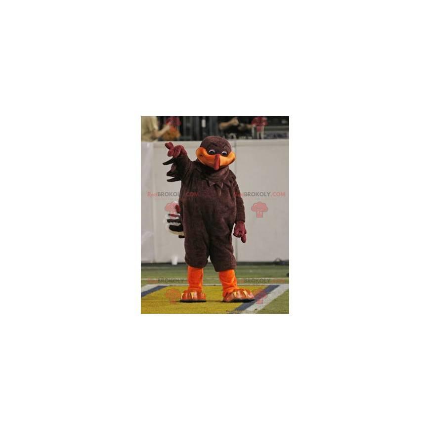 Hnědý a oranžový pták maskot - Redbrokoly.com