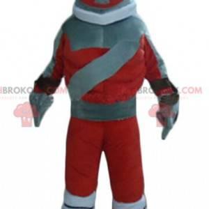 Rød og grå robotlegetøjsmaskot - Redbrokoly.com