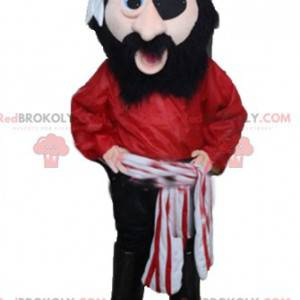 Piratenmaskottchen im roten Schwarzweiss-Outfit - Redbrokoly.com