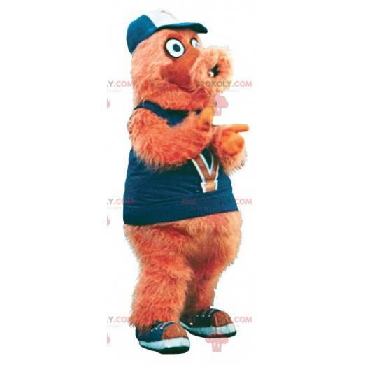 Mascote homem peludo laranja yeti - Redbrokoly.com