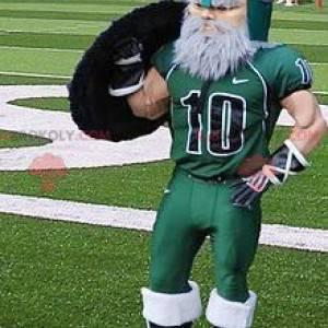 Mascota vikinga barbudo vestida con ropa deportiva -