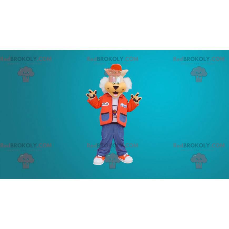 Roztomilý vlk maskot oblečený jako teenager - Redbrokoly.com