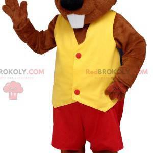 Maskotka bobra ubrana na czerwono i żółto - Redbrokoly.com
