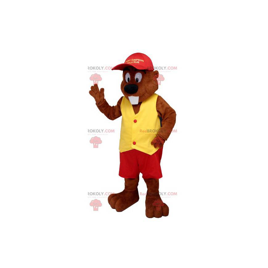 Beaver mascot dressed in red and yellow - Redbrokoly.com
