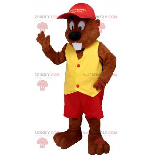 Bobr maskot oblečený v červené a žluté - Redbrokoly.com