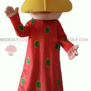 Oriental woman mascot with a red dress with green polka dots -