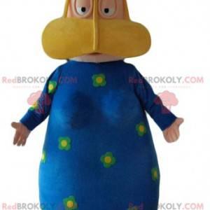Mascota de mujer oriental con un vestido azul con flores -