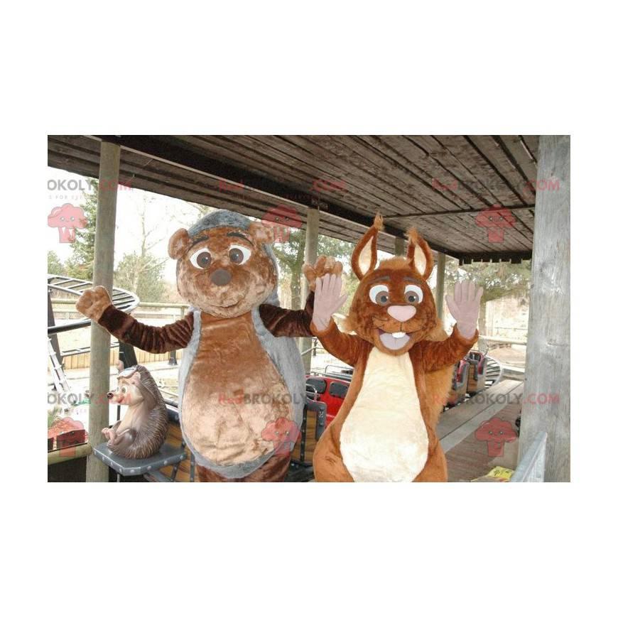 Pinnsvin og ekorn maskoter - Redbrokoly.com