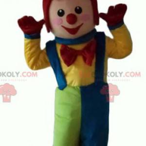 Mascotte multicolore del pagliaccio molto sorridente -