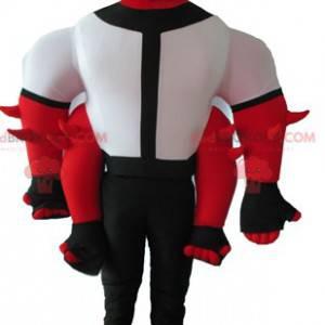 Maskot skapning rød hvit og svart 4 armer - Redbrokoly.com
