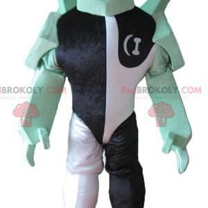 Schwarzes weißes und grünes Fantasiecharakterrobotermaskottchen
