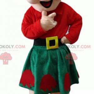 Mascot old lady in red and green outfit - Redbrokoly.com