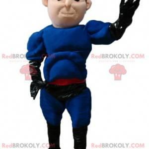Maskot superhrdiny v modrém a černém oblečení s čelenkou -