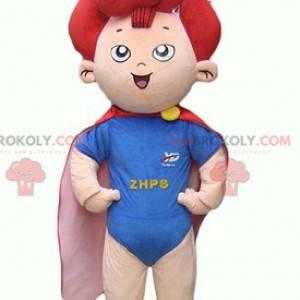 Kindmascotte van een kleine superheld met rood haar -