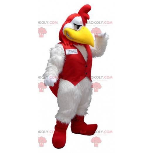 Weißes und rotes Hahnmaskottchen - Redbrokoly.com