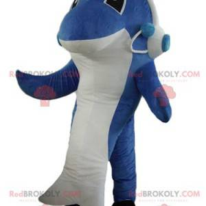 Blauwe en witte haai dolfijn mascotte - Redbrokoly.com