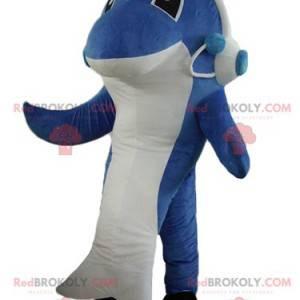 Mascote tubarão-golfinho azul e branco - Redbrokoly.com